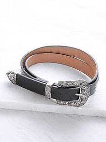 Cinturón con hebilla tallada de cuero sintético - negro