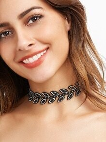 Black Leaf Rhinestone Beaded Choker Necklace