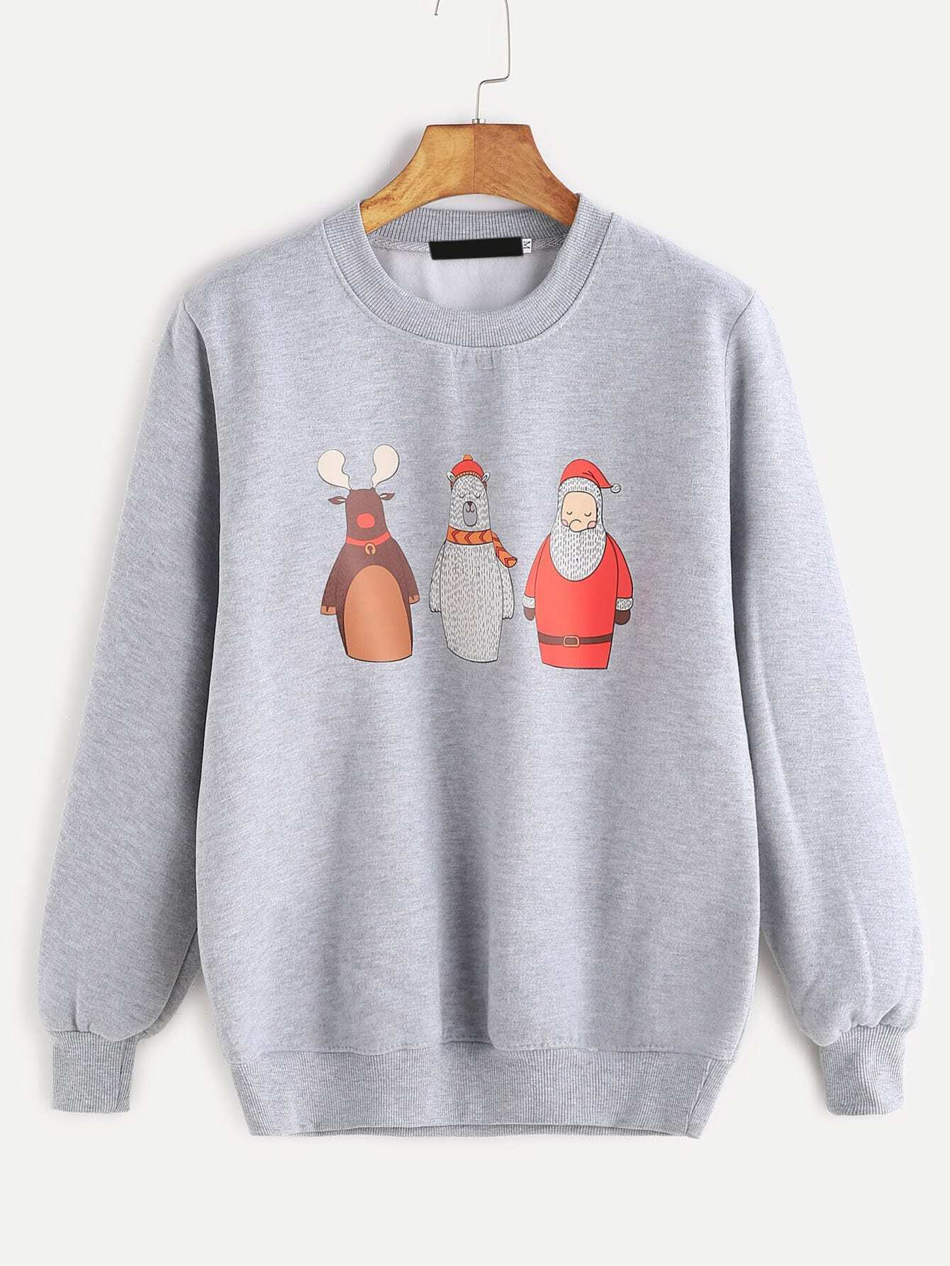 Grey Cartoon Print Ribbed Trim Sweatshirt sweatshirt161118302