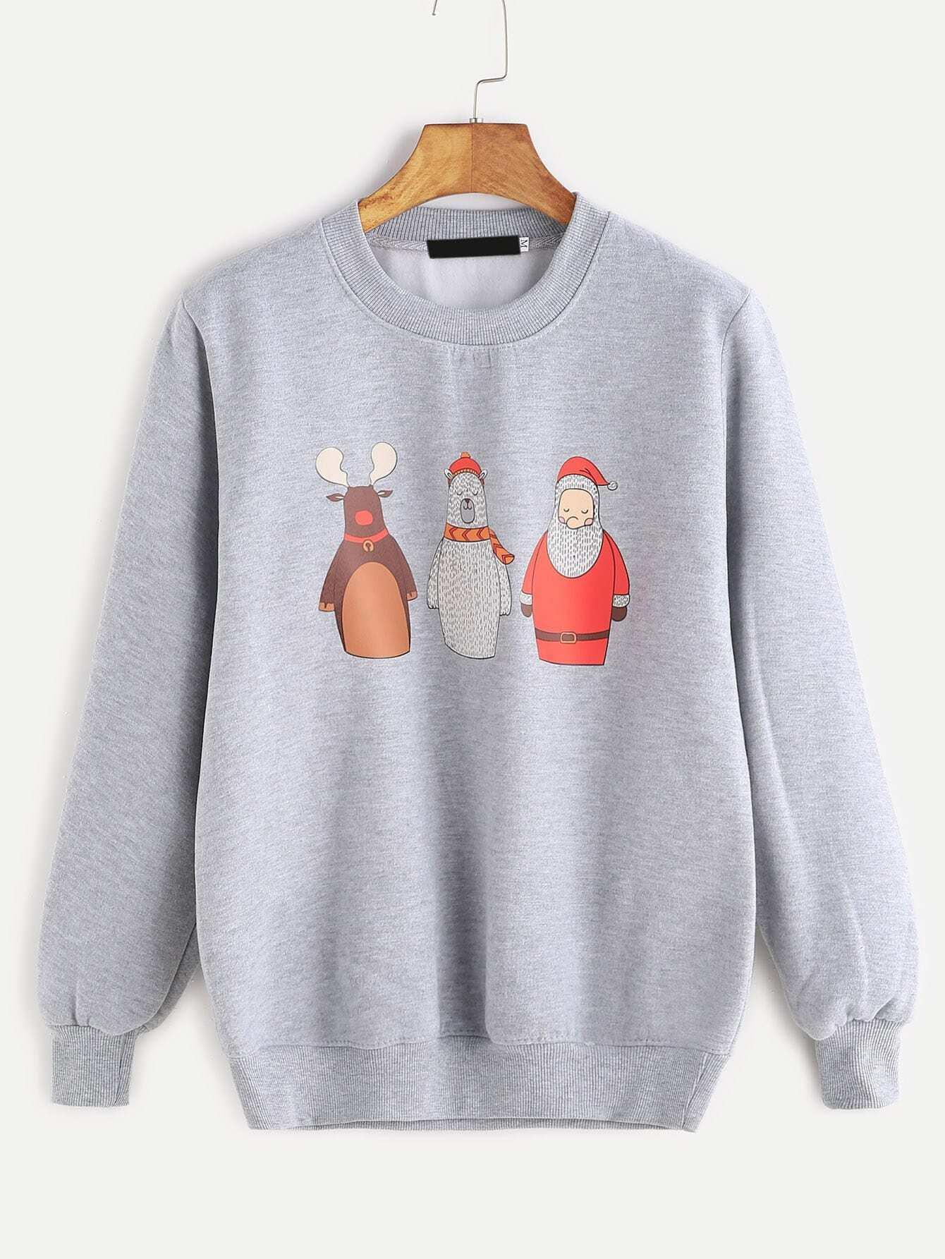 Grey Cartoon Print Ribbed Trim Sweatshirt