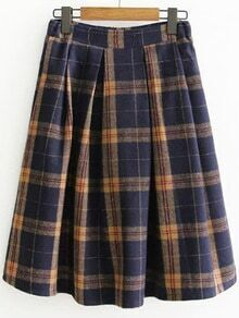 Plaid Back Zipper Pleated Skirt