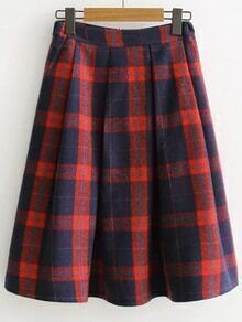 Jupe écossais plisséé zippé qu dos -rouge et noir