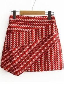 Red Tribal Pattern Asymmetrical Skirt
