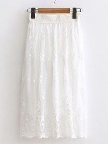 Falda de encaje con cintura elástica - blanco
