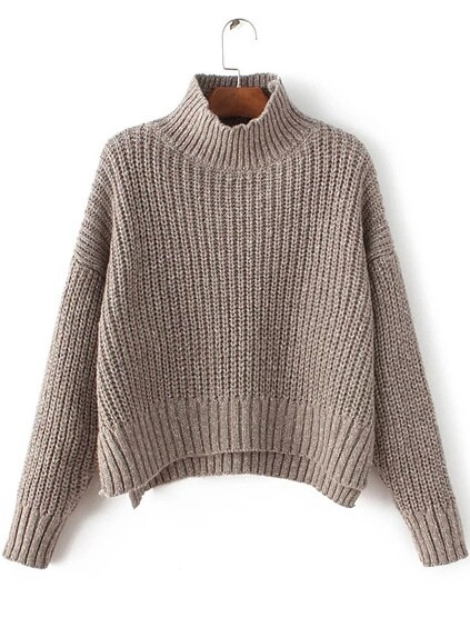 Coffee Mock Neck Drop Shoulder Dip Hem Sweater