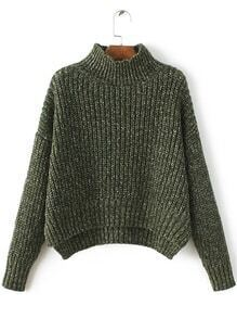 Army Green Mock Neck Drop Shoulder Dip Hem Sweater