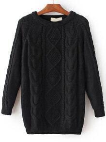 Jersey de punto trenzado con manga raglán - negro