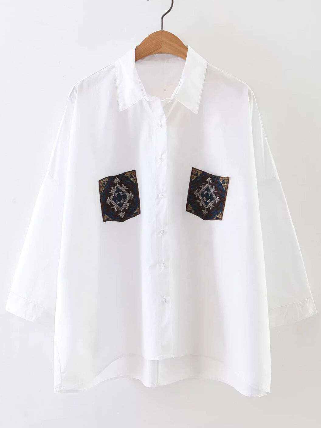 White High Low Blouse With Embroidery Pocket