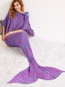 Purple Knit Textured Mermaid Blanket With Bow Detail