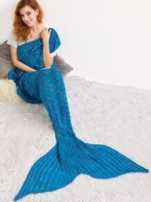 Lake Blue Crocheted Hollow Out Mermaid Blanket