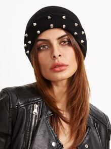 Black Spike Studded Knit Beanie Hat For Women