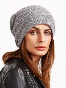 Gorro de tejido con textura drapeado - gris claro