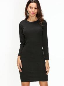 Black Long Sleeve Sheath Dress