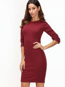 Burgundy Long Sleeve Sheath Dress
