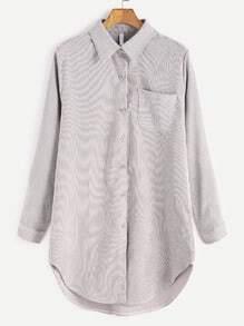 Blusa asimétrica de pana con bolsillo - gris claro
