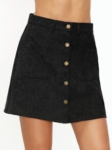 Black Single Breasted Corduroy Pocket Front A Line Skirt