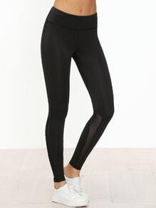 Black Contrast Mesh Skinny Leggings