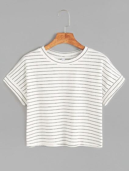 White Striped Short Sleeve Crop T-shirt
