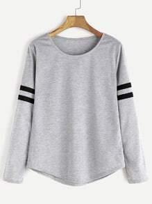 Light Grey Varsity Striped T-shirt