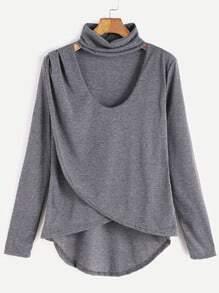 Grey Dip Hem Choker Neck Wrap Front T-shirt