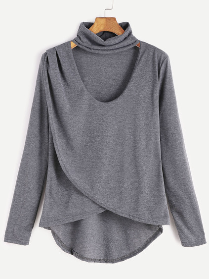 Grey Dip Hem Choker Neck Wrap Front T-shirt