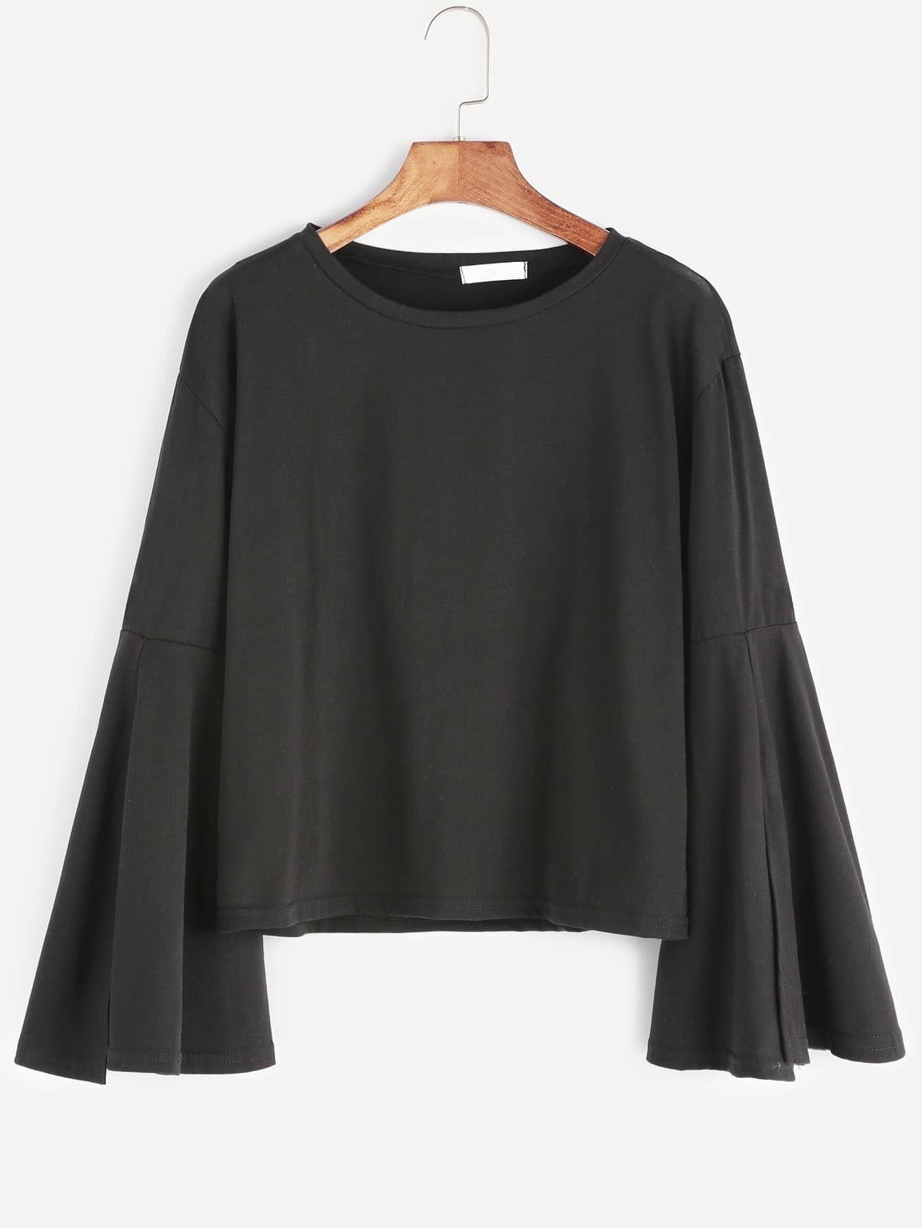 Black round neck bell sleeve t shirtfor women romwe for Bell bottom sleeve shirt