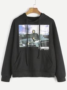 Sweat-shirt à capuche imprimé en filet avec manche - noir