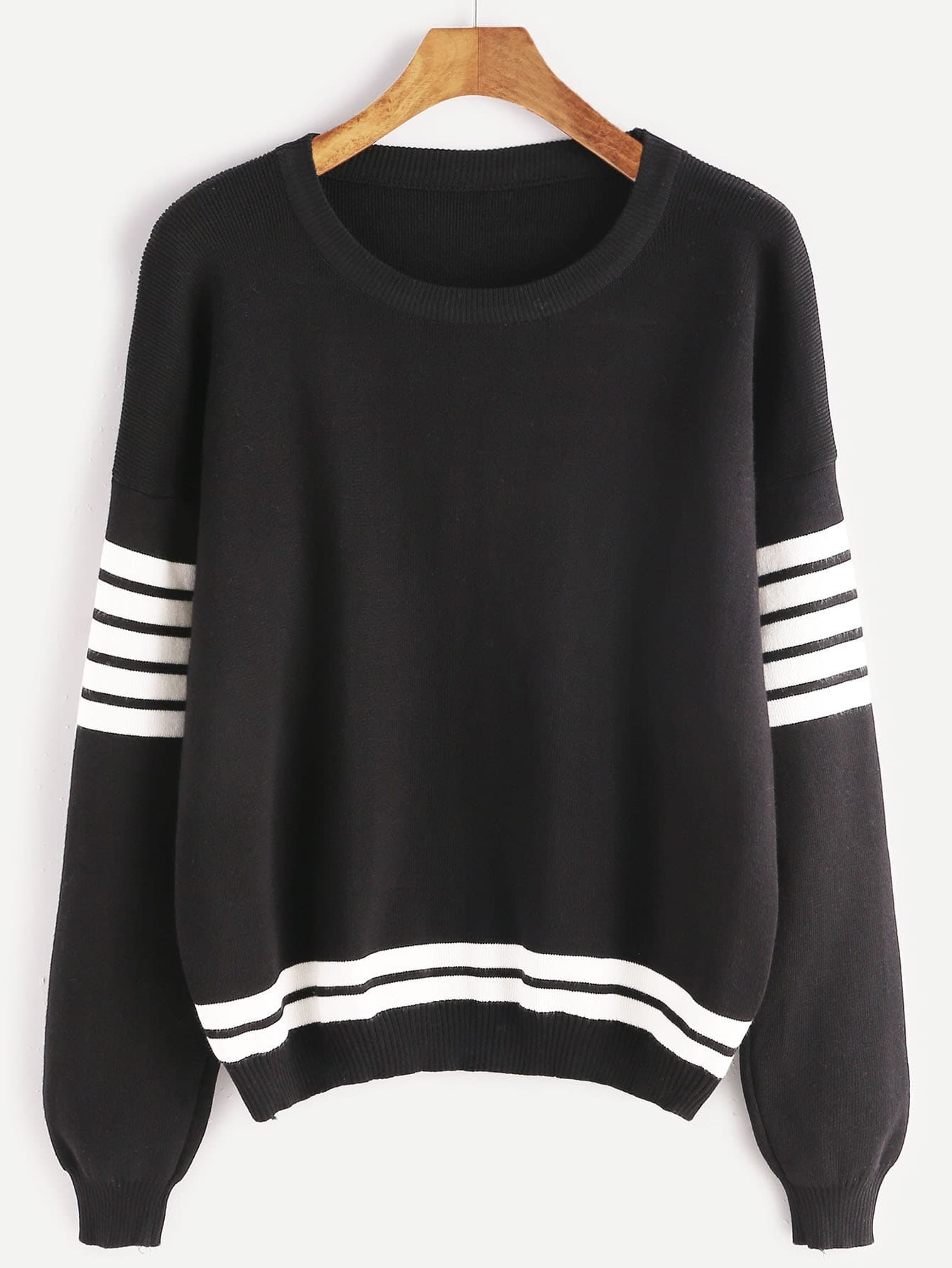 Black Striped Trim Dropped Shoulder Seam Sweater
