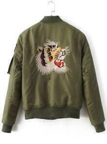 bestickte Jacke mit Tiger Reißverschluss Fliegerbekleidung-Armeegrün