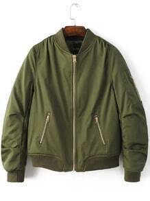 Buy Army Green Stand Collar Zipper Pocket Padded Jacket
