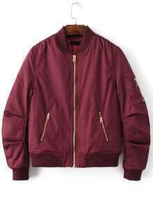 Buy Burgundy Stand Collar Zipper Pocket Padded Jacket