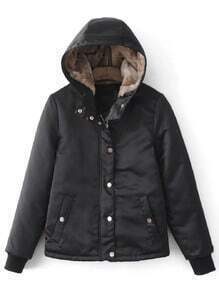 Jacke mit verstecktem Reißverschluss mit Kapuze Paddad-schwarz