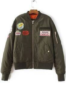 Jacke Reißverschluss Tasche Patchwork Paddad-Armeegrün