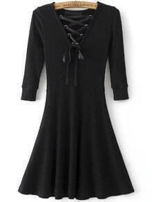 Black Lace Up V Neck 3/4 sleeve A Line Dress