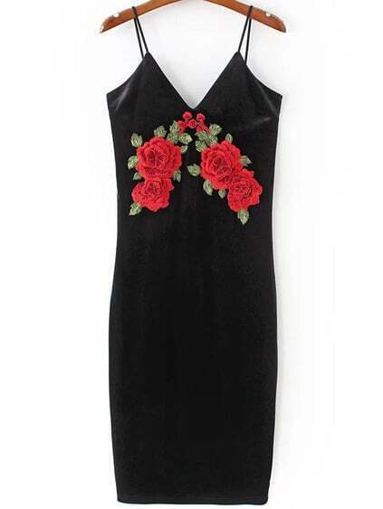 Black Flower Embroidered Velvet Cami Dress