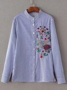 Blusa de rayas verticales con bordado - azul