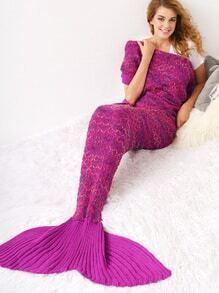 Hot Pink Colorful Rhombus Knit Mermaid Tail Blanket