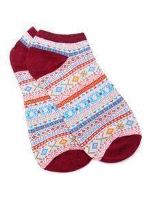 Chaussettes de cheville imprimé tribal -bordeaux rouge