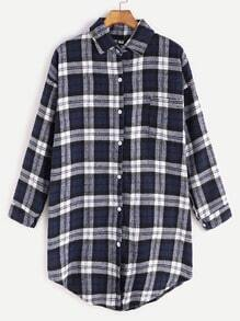 Navy Plaid Dropped Shoulder Seam Curved Hem Blouse