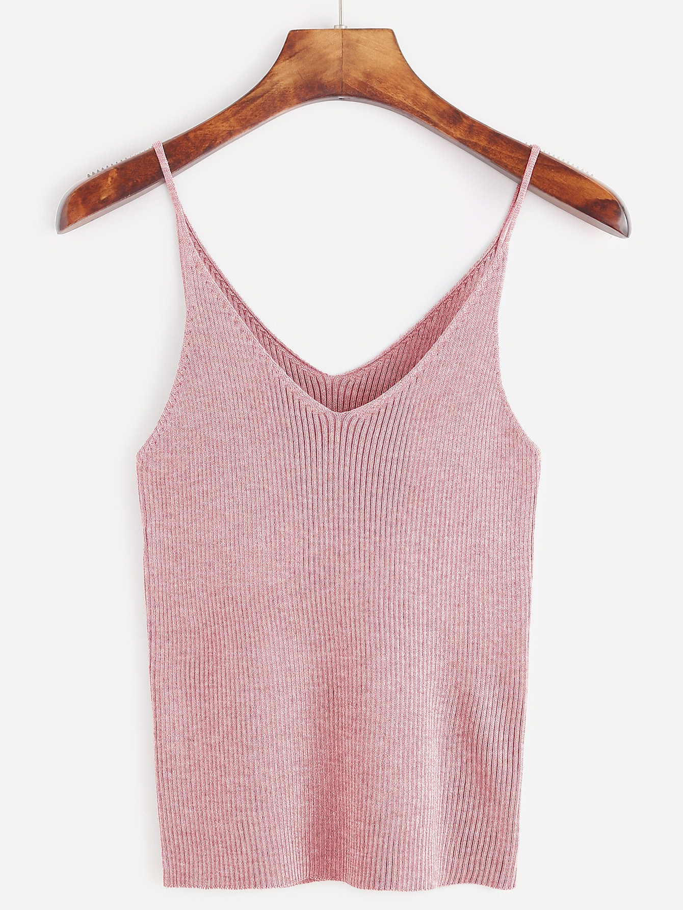 Pink Ribbed Knit Tight Cami Top RVES161121101