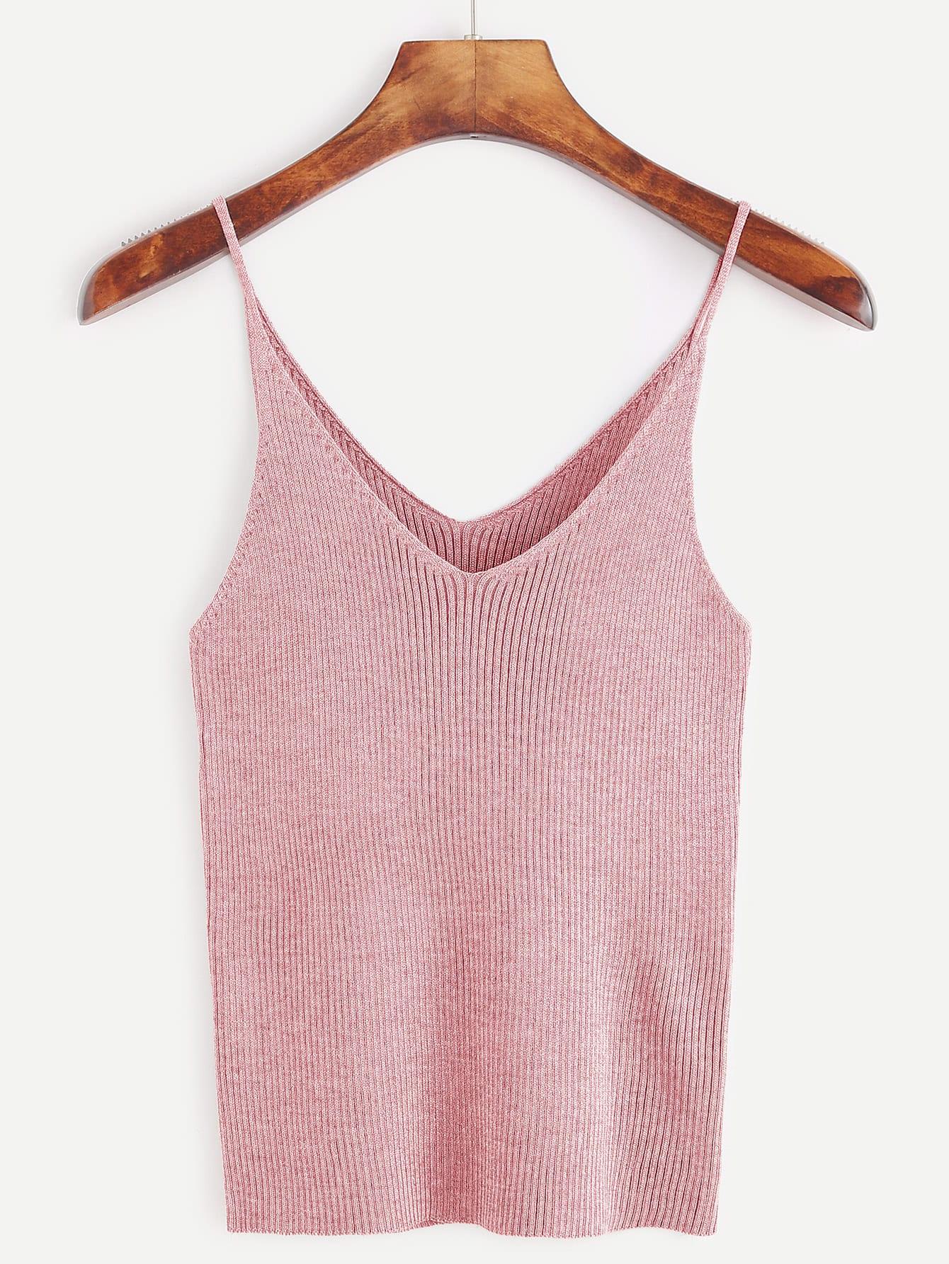 Pink Ribbed Knit Tight Cami Top
