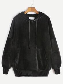 Black Drop Shoulder Drawstring Hooded Pocket Velvet Sweatshirt
