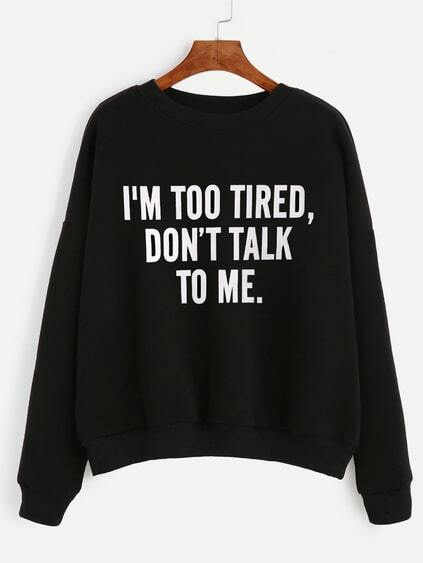 Black Slogan Print Drop Shoulder Sweatshirt