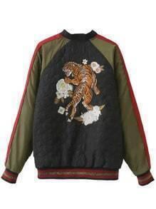 Veste brodé tigre manche raglan color-block