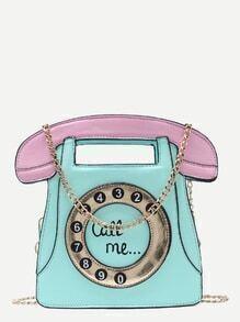 Bolso en forma de teléfono con cadena - verde menta