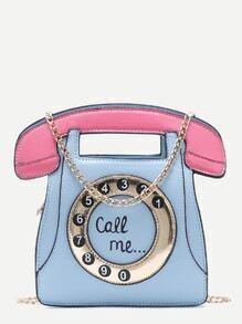 Bolso en forma de teléfono con cadena - azul