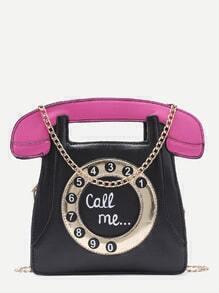Bolso en forma de teléfono con cadena - negro