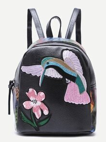 Black Bird Embroidered PU Backpack