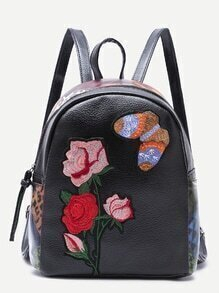 Mochila de PU con bordado de mariposa y rosa - negro