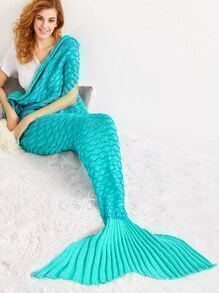 Turquoise Solid Color Crocheted Moire Mermaid Blanket